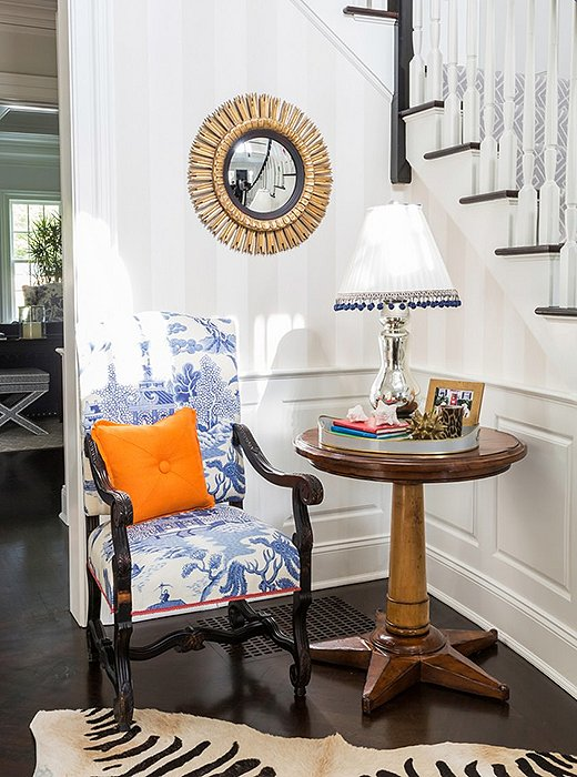 A stately silhouette makes the Louis XIV armchair a focal point wherever it's placed. Photo by Lesley Unruh.