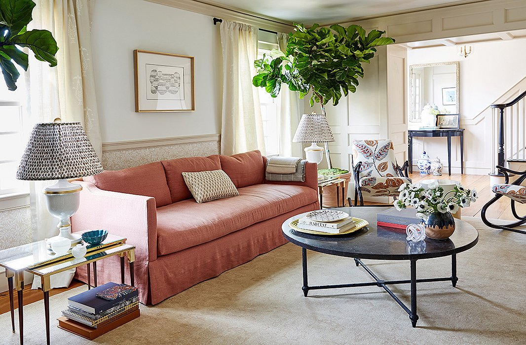 The living room's soft palettecreates a space primed for relaxation.