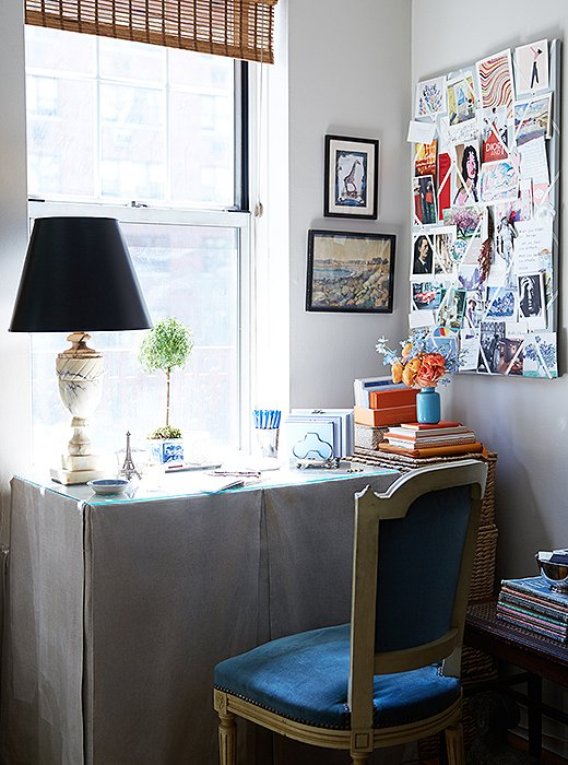 A skirted table is a handy desk alternative if you tend to stash items on the floor but want to keep them out of sight. Photo by Manuel Rodriguez.