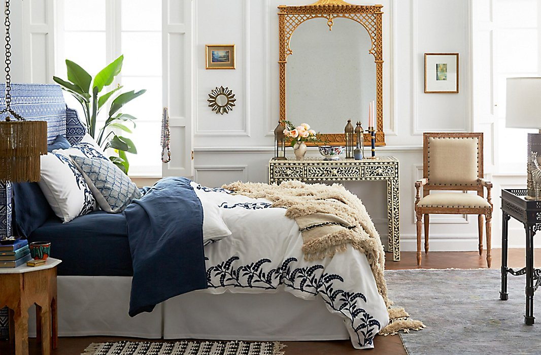 We're dreaming of this French- and Moroccan-inspired bedroom.