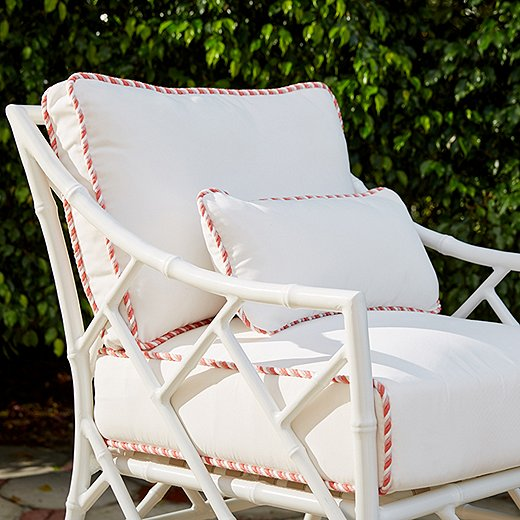 White upholstery can work outdoors—as long as it's fashioned of weather-resistant fabric such as Outdura.