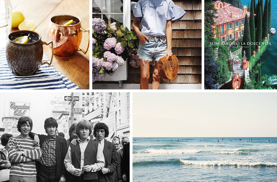 Clockwise from top center: Amy photographed in downtown Nantucket by Ali Schilling (photo courtesy @amy_stone and @adashofdetails); La Dolce Vita, a collection of photography by Slim Aarons; the Montauk surf as captured by photographer Christine Flynn; The Rolling Stones in New York; Moscow mules served in copper mugs.