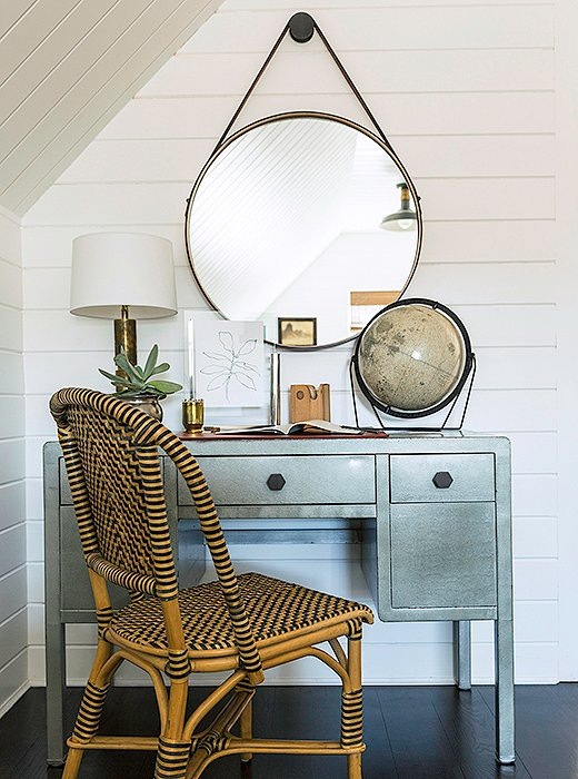 """The room just called for a little spot like that when you enter the space,"" laughs Matthew, who tucked away a painted metal desk that was his husband's and a beloved BDDW mirror just off the doorway. ""We try not to do any serious work in here. Maybe writing a letter or a thank-you card."""