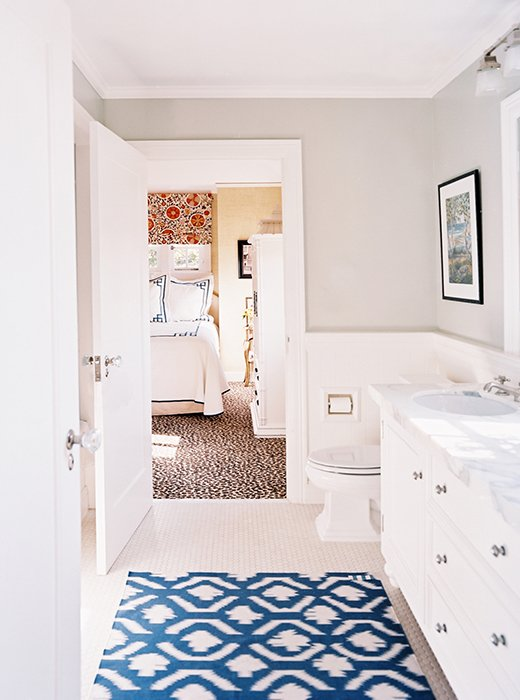 how to decorate with patterned rugs Bathroom Floor Rug Ideas