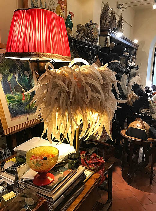 A feathered shade at vintage boutique Il Concelo.
