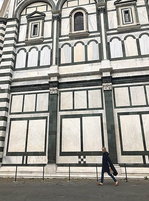 Always on the go, Indré cruises past the Piazza Santa Maria Novella.
