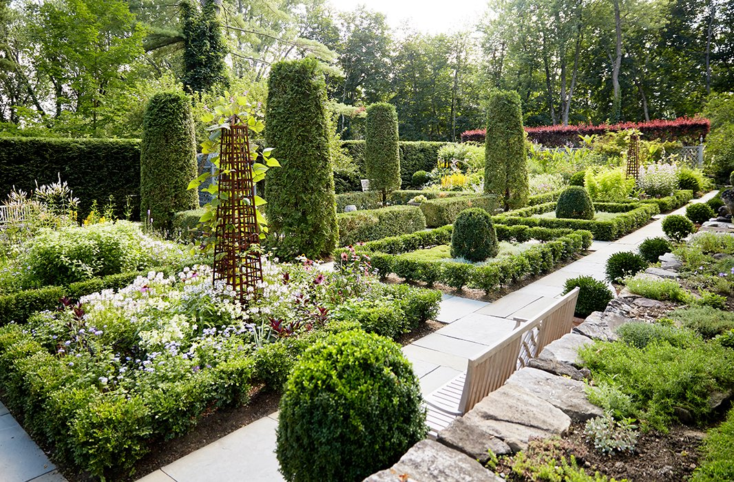 """""""I was inspired to make recent changes to this garden after visiting an English-style garden in Normandy created by the late, great landscape designer Russell Page,"""" says Bunny."""
