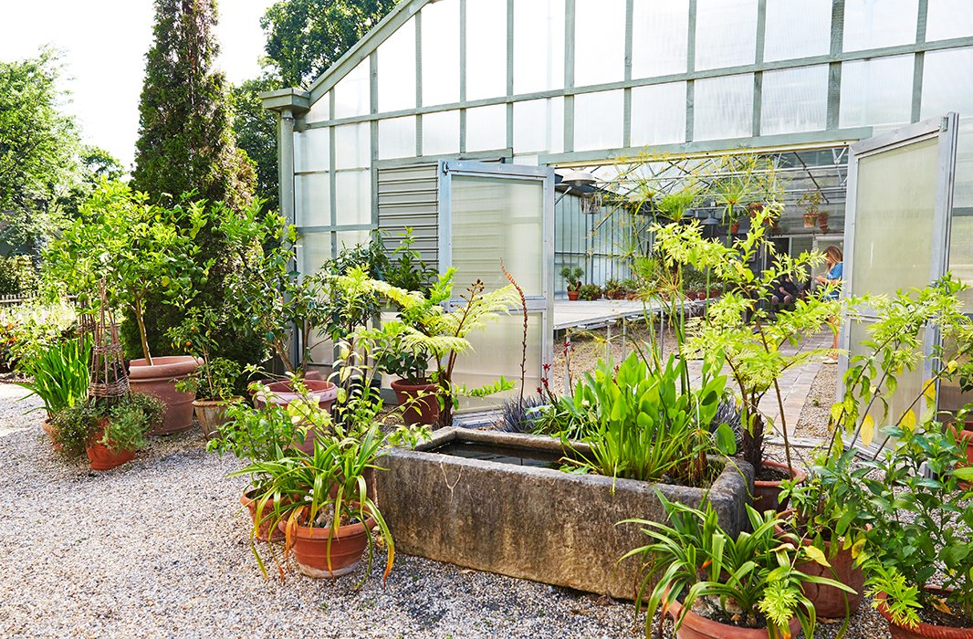 """""""For me, it is the soul of the place,"""" Bunny writes of the greenhouse at one end of the cutting garden. It's an incubator (for newly purchasedblooms), a laboratory (for growing new seeds), and an infirmary (for tending to withering plants)."""
