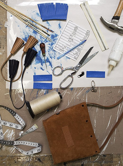 The making of a Shaffer LA bag involves many little parts, all touched by a skilled worker's hand in the brand's Los Angeles factory.