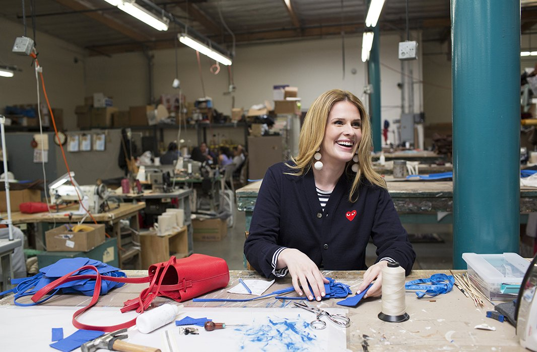 "Designer and founder Erin Shaffer spends many of her days collaborating directly with her team of sewers, painters, and workers in the Los Angeles factory where her bags are made. ""If I didn't have that with the women who are making the products, I would be at a loss,"" she says. ""I get so much more from them in learning."""