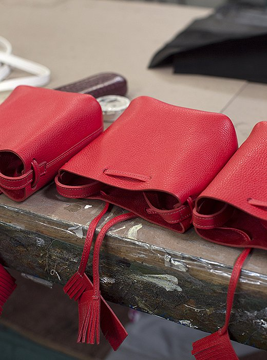 "Because Shaffer LA's bags use only natural leather ""it's going to have inconsistencies,"" says Erin. ""Some are a little more wrinkled than others; that's what's so beautiful about it."""