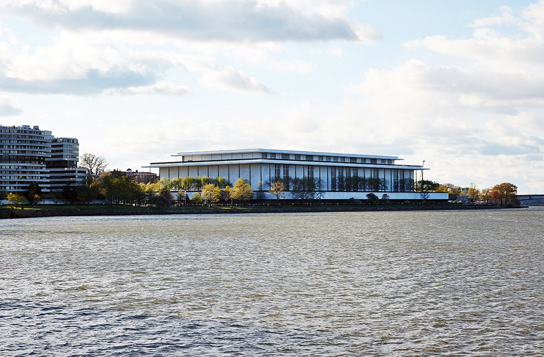 A view of the John F. Kennedy Performing Arts Center on the Potomac River, which Darryl often strolls along.
