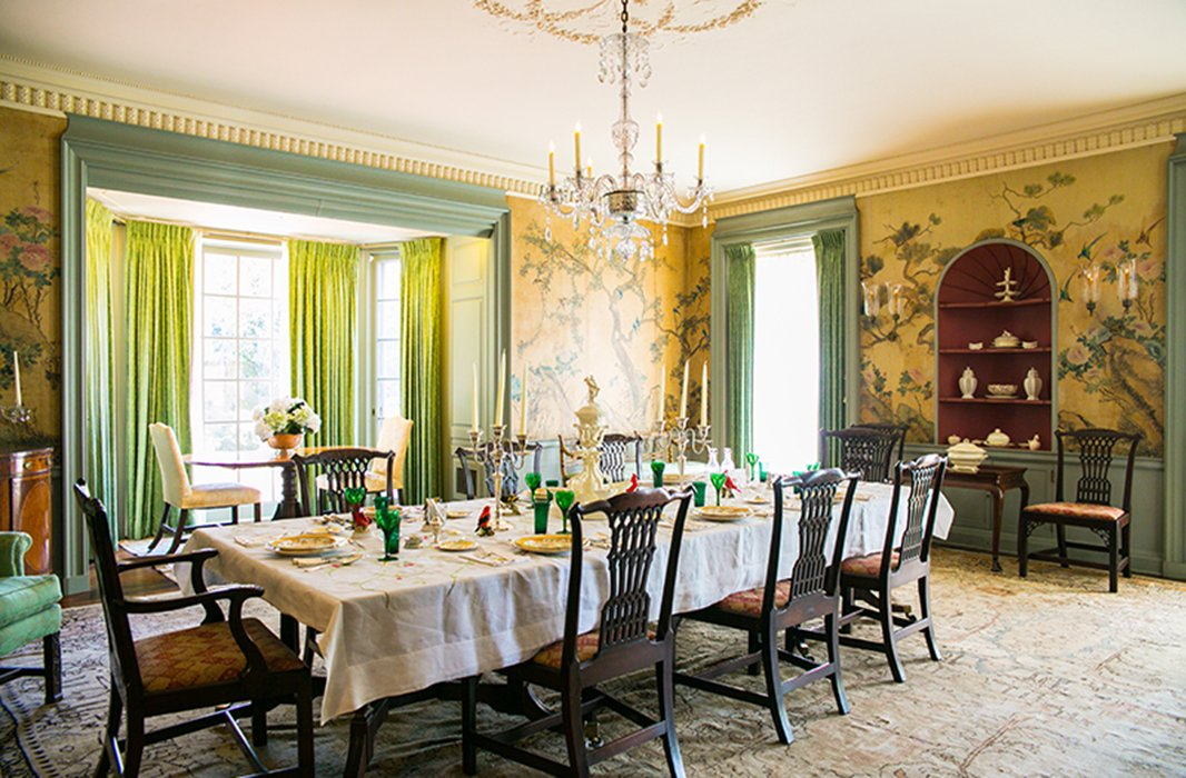 The lavish dining room inside the Longue Vue House & Gardens, a National Historic Landmark, is a gorgeous time capsule of Classical Revival-style grandeur in the city. Photo by Rebecca Ratliff.