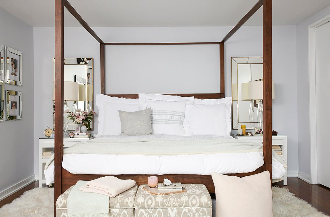 Sarah's Manhattan bedroom has a sleek city look while maintaining an altogether comfortable and calming feel. Her bed is, of course, layered with Sefte's luxurious linens, including a throw, a hand-embroidered alpaca pillow, and percale sheets.