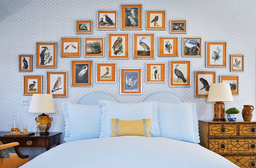 Pops of orange bring a lively twist to the all-American decor in Twin Farms' Hillside suite.