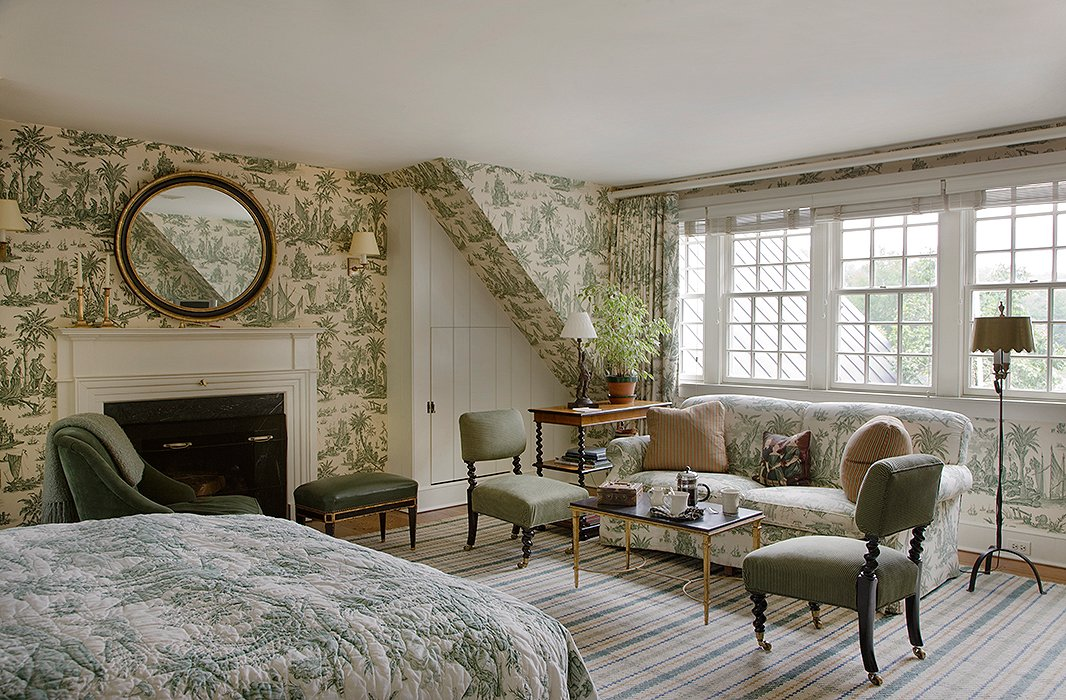 Though the toile dominates, it is broken up with enough solid white and green so that it is anything but dizzying. It also helps that the colors are muted. Photo courtesy of Twin Farms.