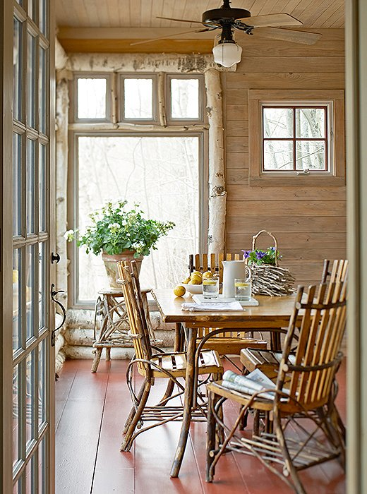 Birch-trimmed windows with views of rolling fields… We'll take our breakfast right here, thanks.
