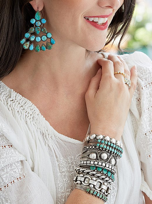 Turquoise Navajo jewelry ranks among the designers' favorites.