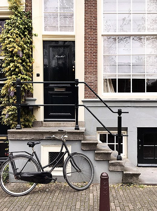 """Wisteria, a bicycle, and a black-lacquered doormake for a scenethat's typically Dutch. """"Almost all the doors look like this,"""" says Alyssa. You can achieve the same look for yourown home with acan of Hollandlac."""