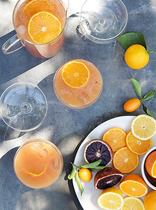 Pink grapefruit, blood orange, or tangerine juice—or a blend of all three—makes a delicious mixer for prosecco and Lillet Blanc.