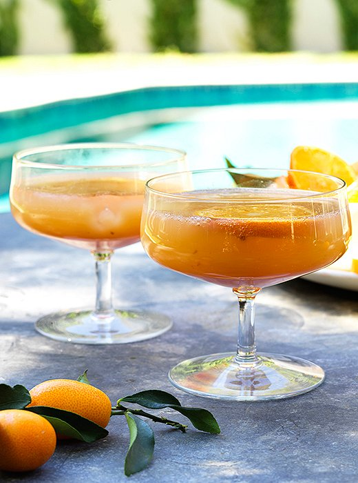 Serve the punch over ice in a coupe or a plastic tumbler.