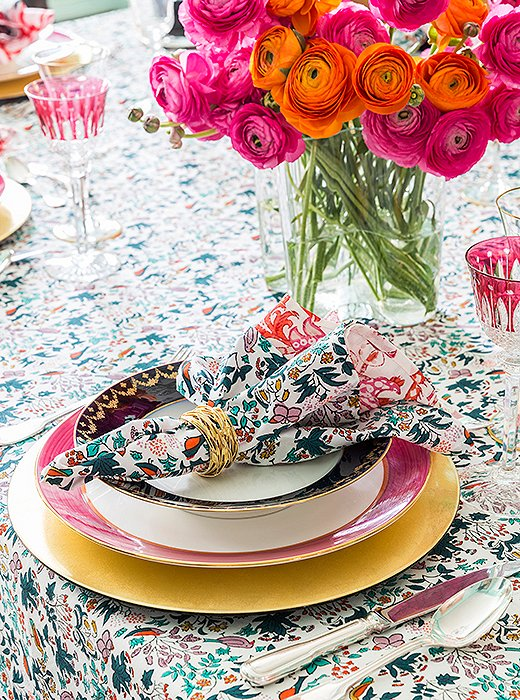 "Roberta's dinner-party essentials include ""good food, great wine, hopefully fun guests, and a beautiful table."" The latter is accomplished through a lively mix of old and new: She pairs her family's heirloom crystal, china, and silver with colorful block-printed table linens from her line. ""What I've inherited is very serious,"" Roberta notes. ""It can look kind of stuffy if you don't bring it down a notch with something whimsical."""