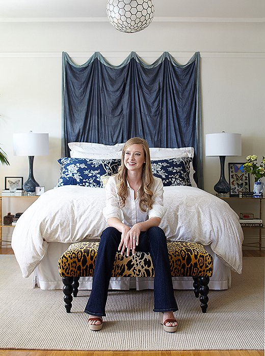 "Stacie discovered the textile that hangs above her bed while she was doing a fellowship in India. ""I just loved the beautiful and rich textile heritage that India has, so that was my bedspread there,"" she says. ""It's not quite large enough to put on a queen bed, and ultimately, it's actually quite delicate. It's ended up working much better as a wall hanging."""