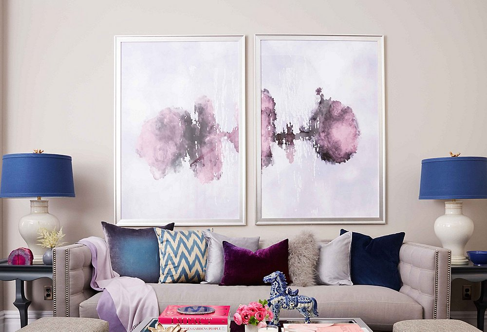 Natalie wanted the seating area to be a focal point and not an overlooked space, so we used large-scale art to draw attention to the spot.