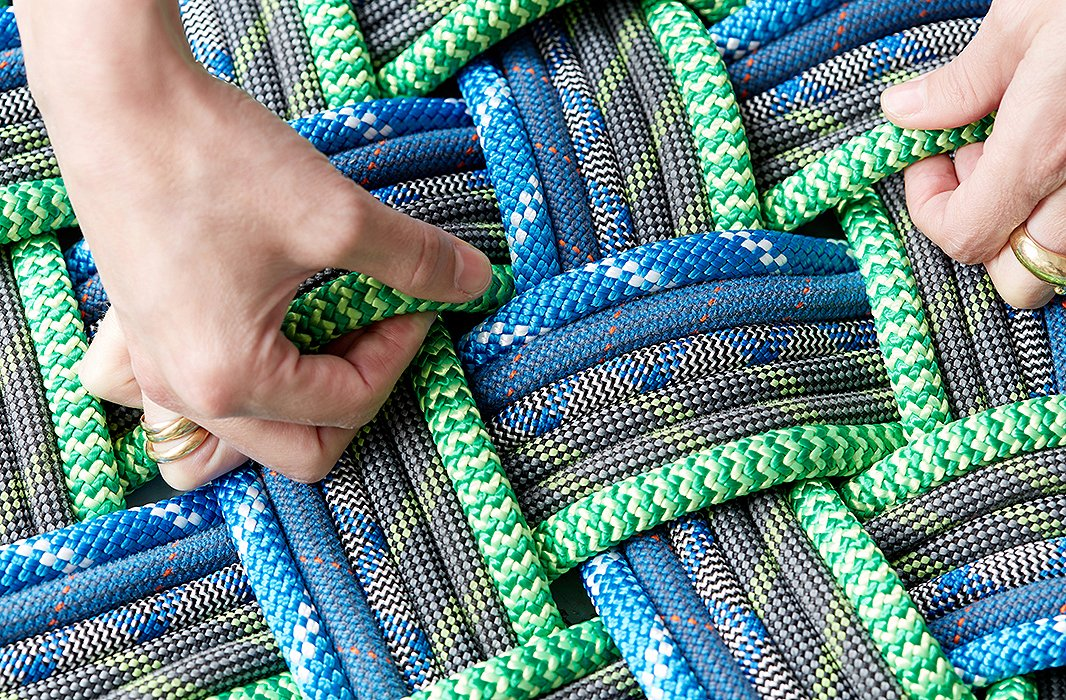 SerpentSea mats are woven with five or six pieces of continuous rope.