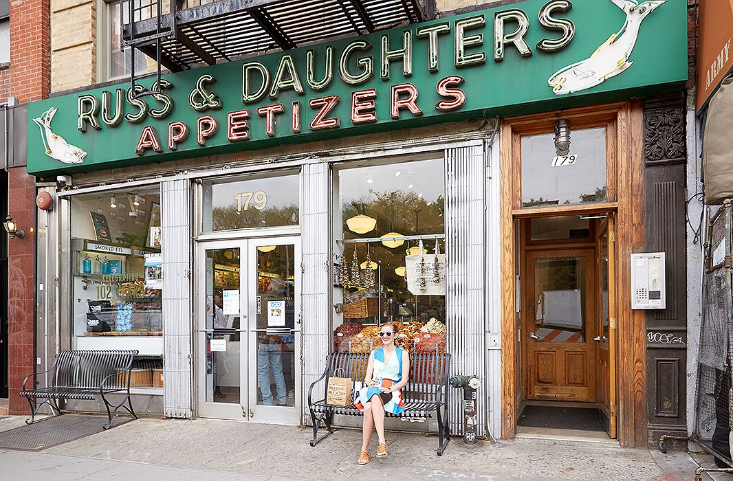 "Russ & Daughters on East Houston Street, which opened in 1914, is the artist's go-to lunch spot. ""It is such an institution, and so pleasant on the eye! While waiting to place my order, I just really enjoy looking at everything—it's eye candy!"""