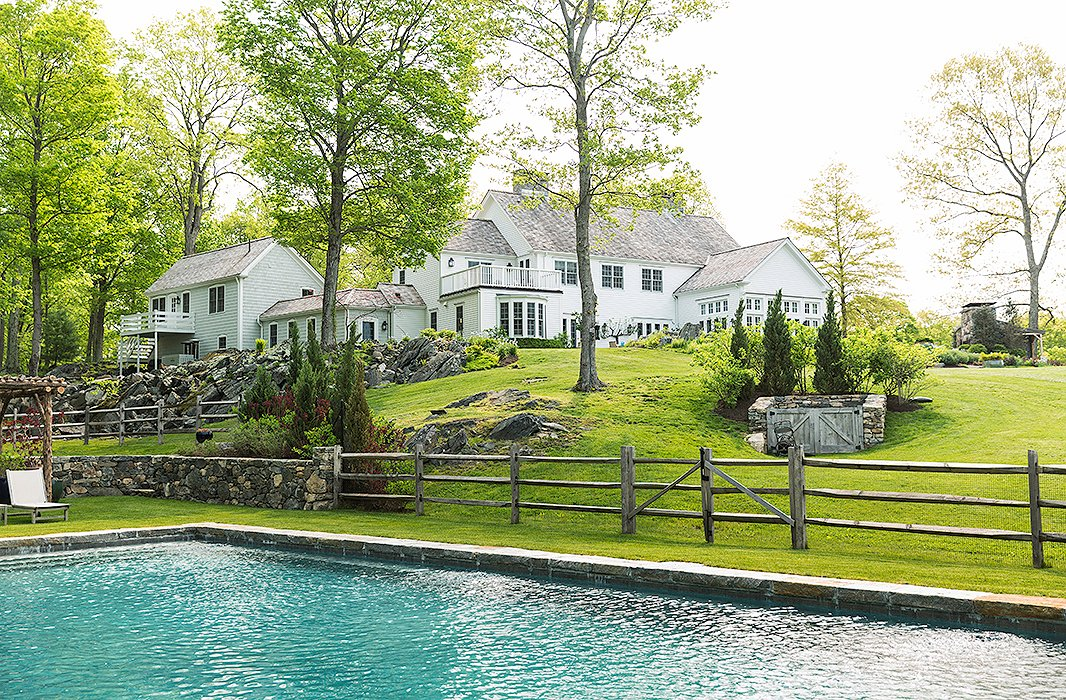 A prime summer destination, the pool is set a bit away from the house.