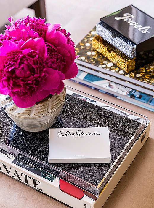 Edie Parkerrecently ventured into home goods with a line of acrylic trays,coasters, place mats, and jewelry boxes.