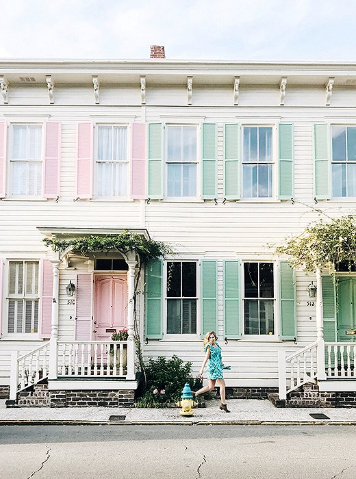 Photo ops abound on Rainbow Row, a stretch of charming homes trimmed with pastel shutters. Photo by @livelikeitsthewknd.