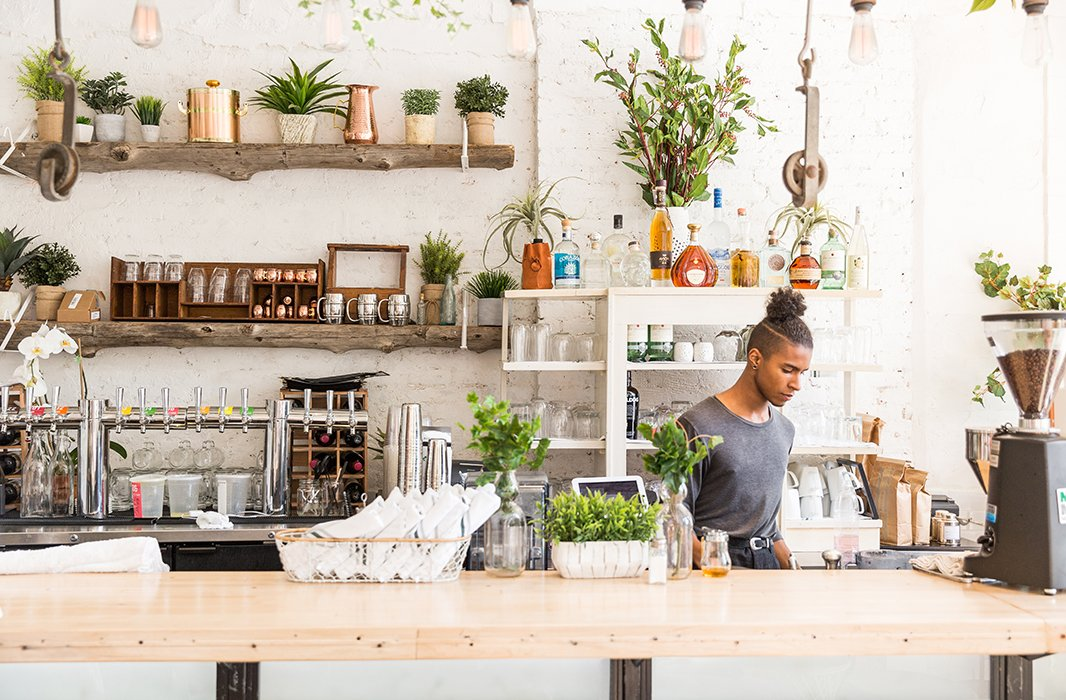 """One of Lauren'sfavorite downtown NYC haunts, The Butcher's Daughter """"has such a relaxed vibe,"""" says the FEED Projects co-founder of the light-filledcafe overflowing with lush, leafy greenery."""