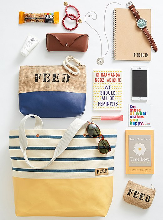 What's in Lauren's own FEED tote? Anotebook,meaningful reminders, stylish accessories, and FEED pouches to keep little things organized inside her bag.