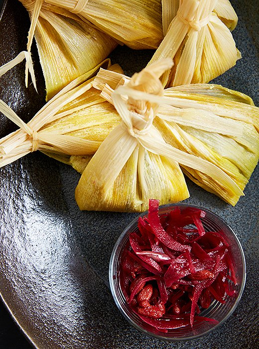 The tamales are served with a pickled-beet salsa.