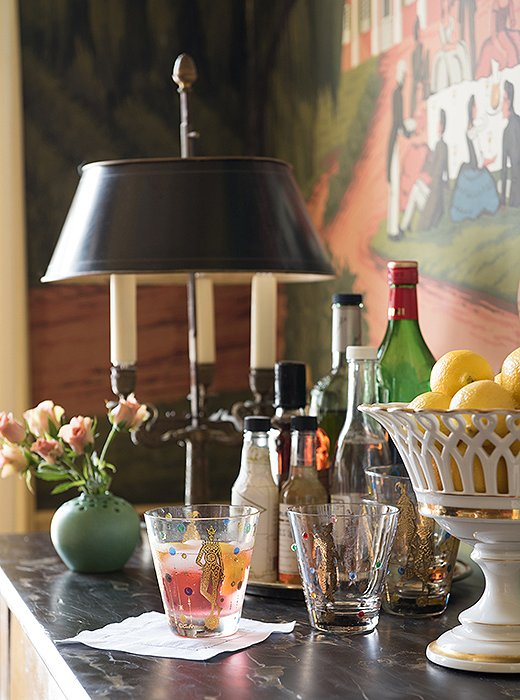 """Everyone drinks bourbon in New Orleans,"" says Thomas, ""but there's also appetite for rum punch and lemonade with liquor."" When it comes to entertaining, the designer maintains his mix-and-match philosophy. ""Some of our pieces are old; others are contemporary,"" he says. ""It's great to have a group of things that work together, so when you go to have a party you don't have anxiety about your dishes. We can entertain for up to 25 people without thinking about it."""
