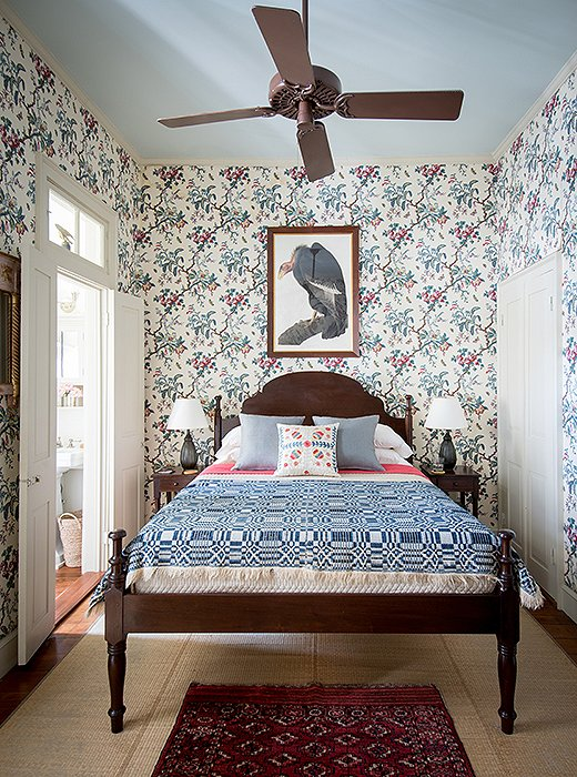 "Thomas has had the quilt topping the Creole-style bed (designed by Harrison Higgins after an antique owned by Peter Patout) for ages. ""It was in my room when I was 12,"" he reveals. After reading a book on the history of the White House, the future designer painted his room red to resemble the Lincoln Bedroom and topped off his bed with this very quilt."