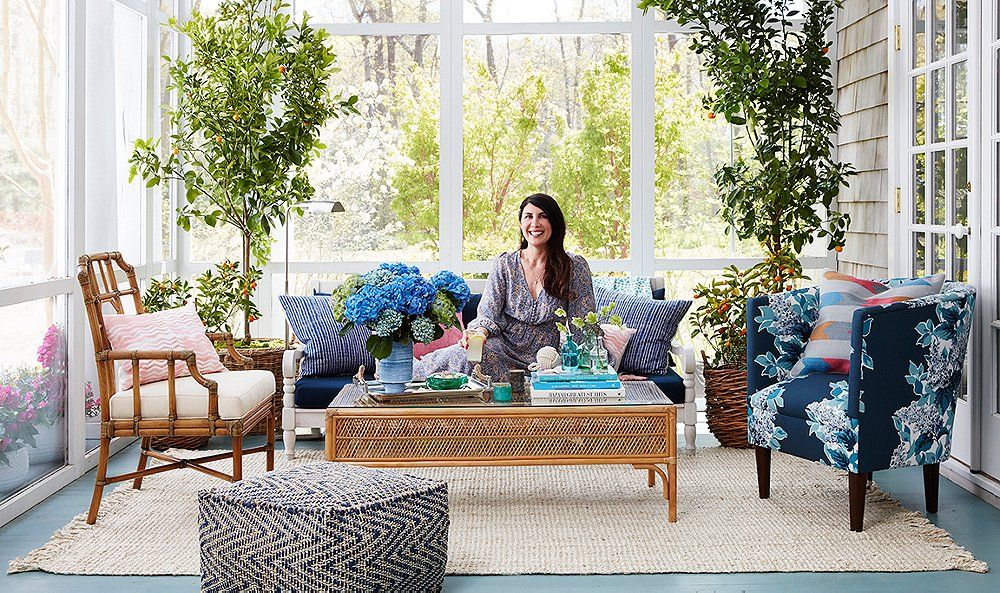 Inside Estee Stanley's Vibrant and Preppy Hamptons Porch Makeover