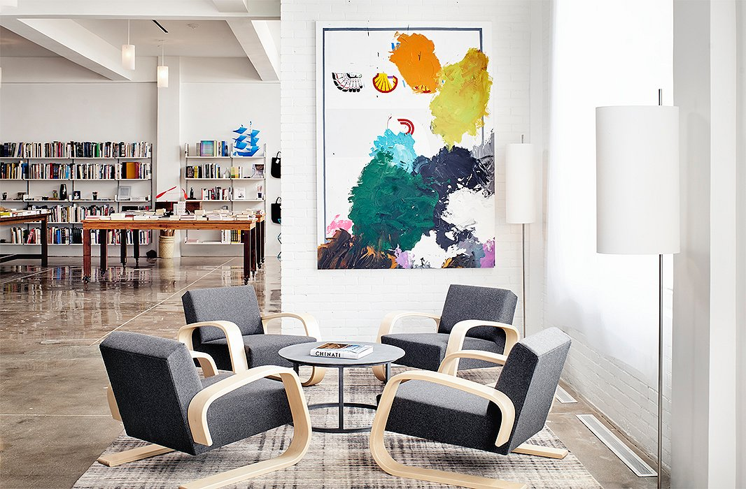 The lobby of the Hotel Saint George is also the new home for local favorite Marfa Book Company. Throughout the hotel you'll find hundreds of original art by regional artists, including works by Christopher Wool and Jeff Elrod. Photo courtesy of Hotel Saint George/Casey Dunn.