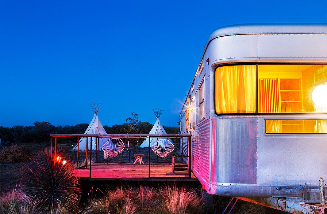 If you're seeking out a more adventurous, outdoorsy Marfa, check in at El Cosmico, the famed 21-acre wandering hotel and campground where you can stay in a yurt, a trailer, or your own tent. Photo courtesy of El Cosmico/Nick Simonite.