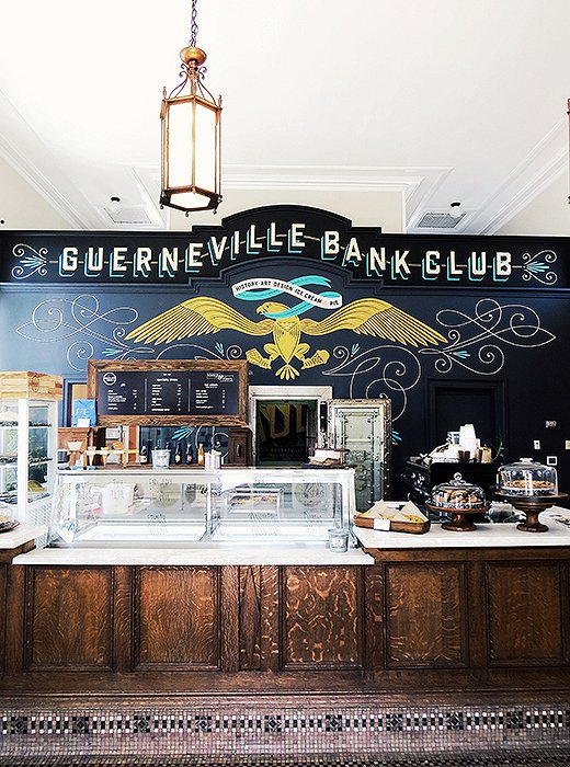 The revamped Guerneville Bank Club, which houses Commerce, is also home to the famed Chile Pies Baking Co. Photo by Kelly Lack.