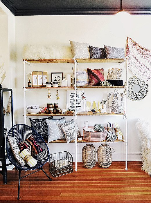 Chic finds and beautiful textiles are on display at the delightful home shop Commerce Fine Goods. Photo by Kelly Lack.