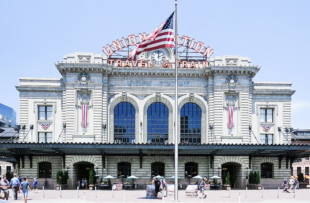 The facade of Denver's theatrical Union Station, a historic landmark that was recently revitalized. Photo by Kelly Lack.