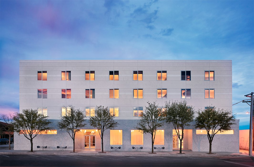 It's time to make for Marfa, where the new place to be is the Hotel Saint George, a 55-room art-filled hotel and local hot spot ensconced in a converted 1930 stucco building. Photo courtesy of Hotel Saint George/Casey Dunn.