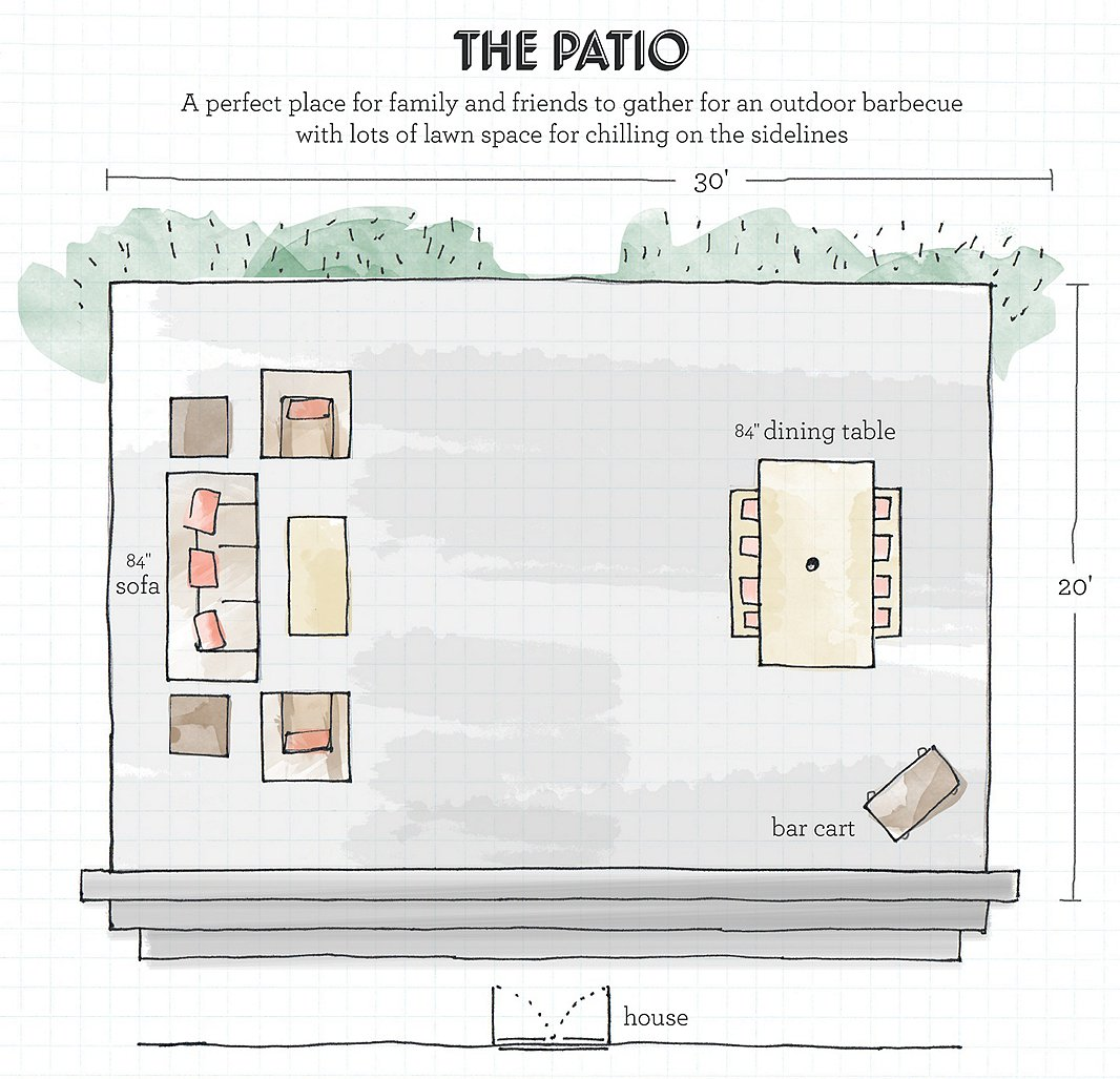 A designer 39 s guide to creating your dream outdoor space for Furniture layout