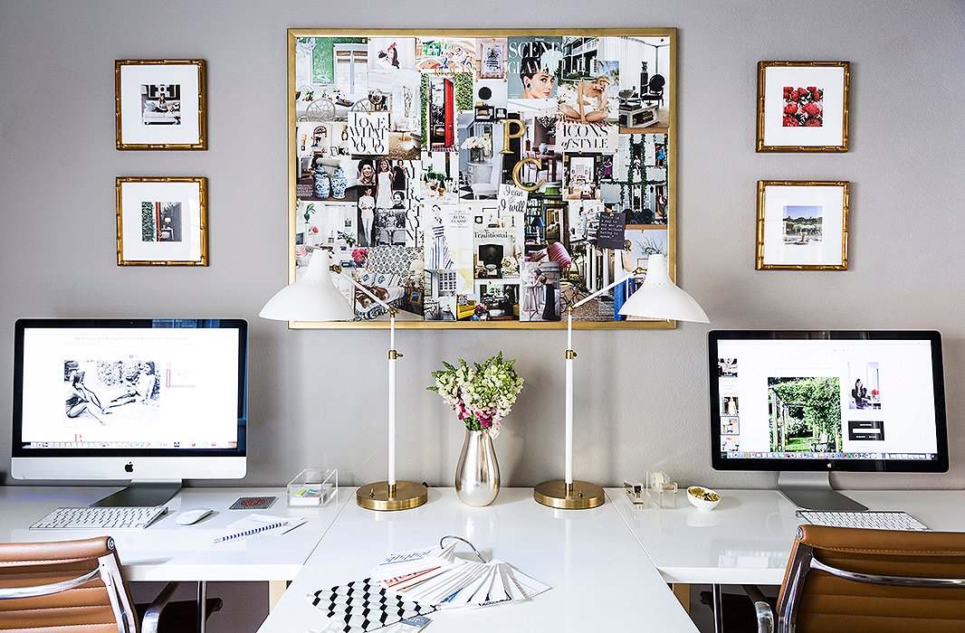 "Paloma doesn't have a lengthy commute to her office. Her home design studio comfortably fits the designer and her staff. ""I wanted a space that was organized and had lots of storage, and so we eventually had this custom built-in desk made, which was a game changer,"" she says. ""The inspo board is a personal statement. The images speak to my aesthetic and make me happy."""