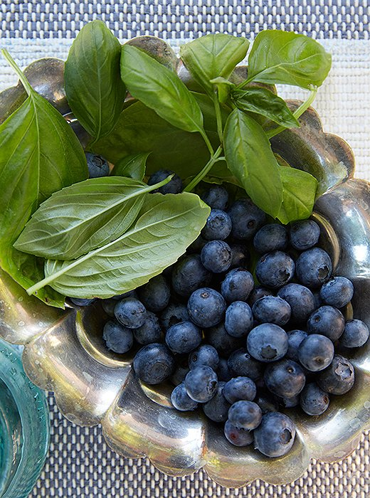 Once I got home, we got the syrup ready for cocktails. And I put out the two main ingredients in the syrup—basil and blueberries—for garnish.