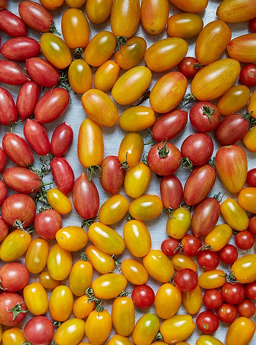 Loads of heirloom grape tomatoes (a bit smaller than cherry tomatoes), ready to become a base for the fish.