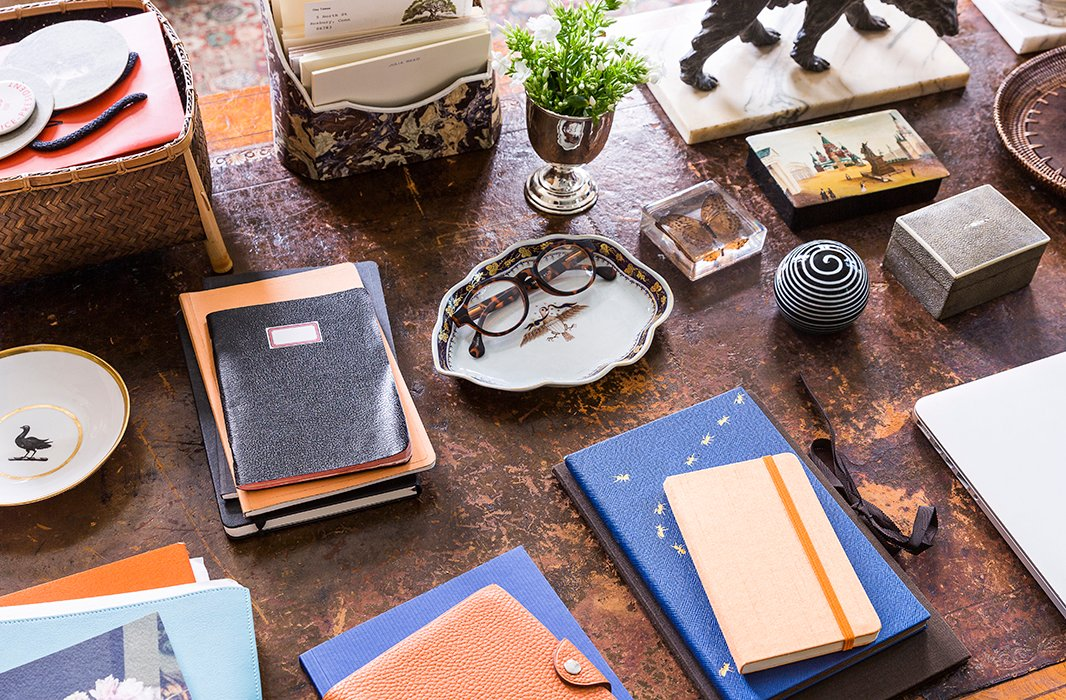 Author of five books and a contributor to numerous publications including The Wall Street Journal, Southern Living, Elle Decor, and Garden & Gun, Julia keeps leather journals and notebooks handy for those moments when the perfect phrase strikes.